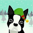 Dog,Christmas,Snow,Holiday,Puppy,Terrier,Winter,Red,Happiness,Cute,Tree,Hat,Dogs,Christmas,Vector Cartoons,Holidays And Celebrations,Illustrations And Vector Art,Smiling,Green Color,Animals And Pets