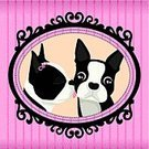 Picture Frame,Frame,Dog,Kissing,Boston Terrier,Terrier,Puppy,Love,Pink Color,Valentine Card,Ribbon,Licking,Animal Nose,Black Color,Two Animals,Male Animal,Striped,Female Animal,Square,Animals And Pets,Animal Tongue,Illustrations And Vector Art,Dogs,Holidays And Celebrations,Valentine's Day,Vector Cartoons
