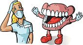 Dentures,Dentist,Human Jaw Bone,Human Teeth,Dental Assistant,Protective Mask - Workwear,Human Mouth,Large,Women,Nurse,Gums,Surgical Glove,Feelings And Emotions,Vector Cartoons,Frustration,Boot,Human Tongue,Concepts And Ideas,Illustrations And Vector Art