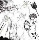 Rose - Flower,Tree,Thorn,Silhouette,Plant,Doodle,Vector,Flower,Line Art,Tulip,Single Flower,Drawing - Art Product,Branch,Nature,Black Color,Grass,Leaf,Daffodil,Bush,Ilustration,No People,Variation,Beauty In Nature,Isolated On White,Design Element,hand drawn