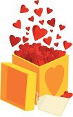 Box - Container,Gift,Heart Shape,Valentine's Day - Holiday,Love,Gift Tag,Surprise,Exploding,Pop Fly,Full,Yellow,Vector,Opening,Mid-Air,Romance,White Background,Concepts And Ideas,Feelings And Emotions,Valentine's Day,Illustrations And Vector Art,Lid,Red,Design Element,Ilustration,Large Group of Objects,Celebration,Holidays And Celebrations