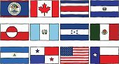 National Flag,Mexican Flag,Flag,Texas State Flag,American Flag,Sketch,Icon Set,Guatemala,El Salvador,Belize,Canadian Flag,Honduras,Symbol,Vector,North America,Isolated On White,Panama,No People,Costa Rican Flag,Ilustration,Greenland