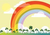 Rainbow,Cartoon,Nature,Backgrounds,Sky,Grass,Cloudscape,Vector,Ilustration,Plant,Clover,Circle,Leaf,Outdoors,Vector Backgrounds,Illustrations And Vector Art,Holidays And Celebrations,Nature,Design,Green Color,Celtic Culture,Holiday Backgrounds,Celebration,Holiday,Day,Shape,Spring,Irish Culture