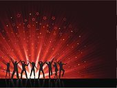 Team,People,Casual Clothing,Dancing,Crowd,Party - Social Event,Disco Dancing,Star Shape,Silhouette,Backgrounds,Teenager,Adult,Young Adult,Color Image,Youth Culture,Abstract,Illustration,Group Of People,Males,Men,Teenage Boys,Females,Women,Teenage Girls,Vector