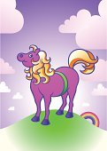 Pony,Horse,Iceland,Cartoon,Rainbow,Riding,Bucking Bronco,Vector,Pink Color,Rose - Flower,brumby,Shetland Islands,Hill,Cute,Land,Illustrations And Vector Art,Neat,Hobbies,Old-fashioned,Gold Colored,Mammals,Hoof,Green Color,Mane,dinky,Cob,brumbee,Grass,milk and honey,Animals And Pets,Animal,Sky,Ilustration,Heap