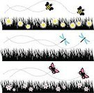 Bee,Dragonfly,Butterfly - Insect,Flower,Insect,Flying,Field,Grass,Vector Backgrounds,Illustrations And Vector Art,Plant,Nature,Vector