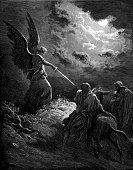Angel,Engraving,Engraved Image,Balaam,Men,Sword,Male,Gustave Dore,Old,Christianity,Bible,Religion,Spirituality,Robe,Catholicism,Senior Adult,Clothing,Old Testament,Road,Obsolete,People,Awe,Group Of People,History,Donkey,Wing,Facial Hair,Religious Illustration,Religious Images,Mature Men,Rescue,Cultures,Religious Event,Religious Offering,Religious Scene,Religion,Period Costume,Concepts And Ideas,Senior Men