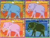 Indian Elephant,Africa,Elephant,India,Safari Animals,Egret,Pachyderm,Animal,African Elephant,Four Animals,West Africa,Group Of Animals,East Africa,Named Animal,Walking,Square,Animals In The Wild,Snowy Egret,Multi Colored,Ilustration,Wild Animals,Mammals,Illustrations And Vector Art,Animals And Pets,Vertebrate,Striding