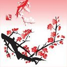 Blossom,Watercolor Painting,Peach Blossom,East Asian Culture,Plum Blossom,Tree,Flower,Vector,Paintings,Twig,Zen-like,Ink and Brush,Love,Springtime,sumie,Plant,oriental style,Nature,Ink,Happiness,Painted Image,Beauty In Nature