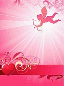 Cupid,Valentine Card,Valentine's Day - Holiday,Love,Backgrounds,Angel,Heart Shape,Invitation,Vector,Romance,Backdrop,Swirl,Red,Scroll Shape,Vertical,Copy Space,Gold Colored,Arrow Symbol