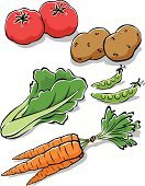 Carrot,Lettuce,Vegetable,Raw Potato,Ilustration,Vector,leafy,Tomato,Green Pea,Freshness,Food,Green Color,Vegetarian Food,Raw Food,Ripe,Healthy Lifestyle,Organic,Crunchy,Healthy Eating,Plant,Environmental Conservation,Fruits And Vegetables,Food And Drink,Illustrations And Vector Art,Raw Food