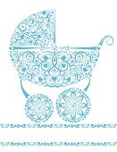 Baby Shower,Baby Carriage,Lace - Textile,Baby Stroller,Flower,Blue,Vector,Little Boys,Pattern,Greeting Card,Heart Shape,Vine,Bird,Cute,Ornate,Baby,Isolated,birth announcement