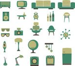 Retro Revival,Furniture,Camera - Photographic Equipment,Clock,Refrigerator,Electric Lamp,Stove,Sofa,Domestic Life,Eyeglasses,Television Set,Radio,Vector,Ball Chair,Chair,Washing Machine,Green Color,Vase,Armchair,Speaker,Stool,Checked,Coffee Table