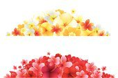 Hibiscus,Frangipani,Hawaiian Culture,Flower,Banner,footer,Backgrounds,Design,Yellow,Summer,Red,Retro Revival,Vector,Orange Color,Vector Backgrounds,Illustrations And Vector Art,Vector Florals,Ilustration,Copy Space,Grunge