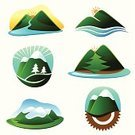 Mountain,River,Hill,Vector,Mountain Peak,Sunrise - Dawn,Water,Tree,Ilustration,Abstract,Landscape,Snow,Adventure,Springtime,Pine Tree,Summer,Nature,Outdoors,Design,Travel,Winter,Physical Geography,Sunlight,Sky,Summer,Landscapes,Nature Symbols/Metaphors,Nature