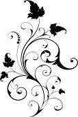 Leaf,Ornate,flourishes,Swirl,Scroll Shape,filigree,Design Element,Curled Up,Black Color,Vector,Silhouette,Black And White,Isolated,Vector Ornaments,Vector Florals,No People,Isolated On White,Illustrations And Vector Art