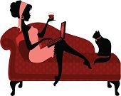 Women,Silhouette,Black Color,Laptop,Domestic Cat,Wine,Computer,Beauty,Relaxation,Dress,Chaise Longue,Comfortable,Internet Dating,Beautiful,Pink Color,Red,Dating,Working,Heart Shape,Romance,Valentine's Day - Holiday,Wineglass,Headband,Flirting,Pillow,Feline,People