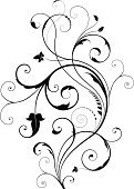 Floral Pattern,flourishes,Swirl,Design Element,Leaf,Ornate,Scroll Shape,Vector,Decoration,Silhouette,Spiral,Retro Revival,Old-fashioned,Black And White,Victorian Style,Black Color,Gothic Style,Plant,Isolated On White,Curled Up,No People,Vector Ornaments,Illustrations And Vector Art,Isolated