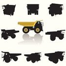 Dump Truck,Truck,Silhouette,Land Vehicle,Road Construction,Road,Vector,Equipment,Commercial Land Vehicle,Construction Equipment,Ilustration,Transportation,Industry,Heavy Industry,Set,Street,Illustrations And Vector Art