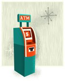 ATM,Retro Revival,1940-1980 Retro-Styled Imagery,Wood Grain,Star - Space,Old-fashioned,Currency,Finance,Art Deco,Dollar Sign,Stipple Effect,Modern,Vector Cartoons,Illustrations And Vector Art