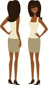 People,Elegance,Front View,Rear View,Long Hair,Black Hair,African-American Ethnicity,Slim,Standing,Adult,Cut Out,Skirt,High Heels,Illustration,Hand On Hip,Two People,Women,Only Women,Vector,African Ethnicity,White Background,Adults Only