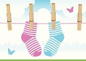Sock,Clothing,Clothesline,Clothespin,Child,Hanging,Vector,Cartoon,Single Line,Baby Clothing,Drying,Little Boys,Pink Color,Baby Girls,Butterfly - Insect,Twin,Wood - Material,Blue,Ilustration,Shape,Textured Effect,Little Girls,Kitchen Utensil,Heart Shape,New Life,Objects/Equipment,Birthdays,Household Objects/Equipment,Holidays And Celebrations,Horizon,Urban Skyline,Horizon Over Land,Outdoors,Illustrations And Vector Art