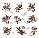 Butterfly - Insect,Floral Pattern,Baroque Style,Vector,Decoration,Ornate,Christmas Ornament,Pattern,Scroll Shape,Flores,Backgrounds,Single Line,Old-fashioned,Classic,Retro Revival,Swirl,Antique,Elegance,Modern,Leaf,Black And White,Set,Ilustration,Decor,Curled Up,Branch,Spiral,Creativity,Nature,Illustrations And Vector Art,Nature Abstract,Vector Florals,Vector Ornaments
