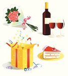 Gift Box,Gift,Cake,Surprise,Birthday,Bouquet,Food,Anniversary,Illustrations And Vector Art,Holidays And Celebrations,Vector Icons,Drink,Party - Social Event,Celebration,Valentine's Day - Holiday,Fun