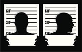 Mug Shot,Silhouette,Police Line-Up,Human Head,Criminal,Human Face,Profile View,Suspicion,Prisoner,Arrest,Men,Crime,Blank,Portrait,Front View,Male,Photography,offender,Black Color,White,People,Banner,Illustrations And Vector Art