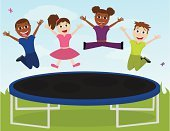 Trampoline,Child,Jumping,Hand Raised,Exercising,Elementary Age,Friendship,Little Girls,Springtime,Cute,Group Of People,Nature,Childhood,African Ethnicity,Cheerful,Happiness,Little Boys,Joy,Laughing,Summer,Multi Colored,Outdoors,Unity,Nature,Smiling,High Up,Caucasian Ethnicity,Cloud - Sky,Lifestyle,Fun,Butterfly - Insect,Babies And Children,Sky,Playful,Grass