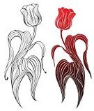 Tulip,Black Color,Ilustration,Sketch,White,Posing,Flower,Bent,Contour Drawing,Silhouette,Drawing - Art Product,Simplicity,Decoration,Creativity,Illustrations And Vector Art,Outline,Ideas,Design Element,hot-house,Nature,Red,Elegance,Smooth,Ornamental Garden,Leaf,Beauty In Nature,Two Objects,Two Tulips,Stem,Fragility,Computer Graphic,Petal,Flowers,Monochrome,Nature,Plant,Vector Florals,Springtime