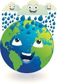 Environment,Earth,Smiling,Global Warming,Cloud - Sky,Globe - Man Made Object,Happiness,Flood,Cheerful,Rain,Water,Cloudscape,Characters,Concepts And Ideas,Illustrations And Vector Art,Nature,Vector Icons,Isolated On White,Drop,White Background,Vector,Raining Cats and Dogs,Cute