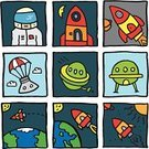 Space,Spaceship,UFO,Rocket,Alien,Square,Moon,Astronaut,Sun,Moon Surface,Landing - Touching Down,Earth,Ilustration,Vector,Vector Icons,Technology,Travel Locations,Orbiting,Red Rocket,Illustrations And Vector Art