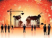 Building - Activity,Business,Built Structure,Earth,Construction Industry,World Map,Silhouette,People,Building Exterior,New,Vector,Crane - Construction Machinery,Scaffolding,Global Business,Outline,Map,Business Person,Ideas,Ilustration,Urban Skyline,Concepts,Grunge,Urban Scene,City,Working,Businessman,Cityscape,Suit,Businesswoman,Tie