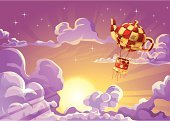 Cloud - Sky,Cloudscape,Hot Air Balloon,Space,Sky,Balloon,Vector,Sun,Fantasy,Night,Star - Space,Dusk,Purple,Computer Graphic,Ilustration,Sunlight,Light - Natural Phenomenon,Drawing - Art Product,Journey,Twilight,Travel,Sunbeam,Industry