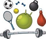 Dumbbell,Weights,Ball,Racket,Isolated,Soccer,Tennis,Sport,Sports And Fitness,Objects/Equipment,Equipment,Basketball,Illustrations And Vector Art