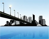 Bridge - Man Made Structure,City,Vector,Town,Sunbeam,Sun,Ilustration,Lighting Equipment,Computer Graphic,Isolated,Black Color,Creativity,Lifestyles,White,Clip Art,Image,Circle,Blue,Decoration,Vector Backgrounds,Water,Turquoise,Design,Reflection,Illustrations And Vector Art,Office Buildings,Architecture And Buildings,Sea,Design Element,Summer,Curve