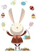 Rabbit - Animal,Easter,Juggling,Happiness,Cheerful,Basket,Eggs,Holiday,Fun,Flower,Easter Egg,Holiday Backgrounds,Holiday Symbols,Easter,Holidays And Celebrations,Celebration,Celebration Event