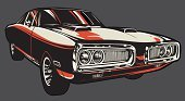 Muscle Car,Car,Dodge Charger,Hot Rod,Vector,Classic,Old-fashioned,Ilustration,Transportation,Isolated