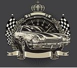 Car,Sports Race,Hot Rod,Motorsport,Chevrolet Camaro Super Sport,Vector,Speed,Crown,Muscle Car,Success,Banner,Classic,Ilustration,Design,Checkered Flag,Victory,Shiny,Street Racing,Success,Illustrations And Vector Art,Concepts And Ideas,Speedometer,Copy Space