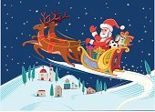 Santa Claus,Sleigh,Christmas,Reindeer,Village,Landscape,Flying,Ilustration,Gift,Christmas Present,Snow,White,Nature,Star - Space,Holidays And Celebrations,Panoramas,Hill,Nature Backgrounds,Christmas,Joy,Scenics,Multi Colored,Yellow,Blue,Night