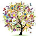 Flower,Tree,Abstract,Flower Head,Symbol,Fantasy,Colors,Swirl,Multi Colored,Butterfly - Insect,Nature,Vector,Environment,Backgrounds,Leaf,Ladybug,Plant,Black Color,Outline,Design,Silhouette,Decoration,Summer,Image,Insect,Bush,Curve,Daisy,Art,Painted Image,Flowers,Summer,Vector Cartoons,Nature,Illustrations And Vector Art,Branch,Season,Decor