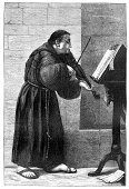Monk - Religious Occupation,Sheet Music,Music,Christianity,Antique,Ilustration,Old,Violin,Musical Instrument,Habit,Art,Music Stand,Men,Catholicism,Old-fashioned,Styles,Victorian Style,Engraved Image,Traditional Musician,Musician,Equipment,Traditional Clothing,Entertainment,Musical Equipment,Painted Image,Sandal,Plucking An Instrument,Occupation,Classical Musician,Entertainment Occupation,People,Religion,Violinist,Man Made Object,Clothing,Lifestyle,Arts And Entertainment,The Past,Art And Craft,Spirituality,Religious Dress,Image,Violin Family,Human Role,Religious Occupation,String Instrument,Music,Male,Human Gender,Playing,History,Shoe,Illustration Technique,Personal Accessory