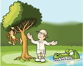 Guide,Cartoon,Crocodile,Explorer,Tropical Rainforest,Monkey,Outback,Swamp,Animal,Tree,Tourist,Pond,Forest,Africa,Adventure,Tropical Climate,Lake,Hat,Plant,Grass,Hanging,Leaf,Travel,Chimpanzee,Nature,Bark,Green Color,Wildlife,Safari Animals,Illustrations And Vector Art,Outdoors,Ripple,Mammal,Boot,Vector Cartoons,Wild Animals,Travel Locations,Animals And Pets,Animals In The Wild,Formal Garden,Branch