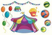 Circus,Carnival,Tent,Entertainment Tent,Popcorn,Ball,Flag,Balloon,Part Of,Sphere,Objects/Equipment,Arts And Entertainment,Multi Colored,Illustrations And Vector Art