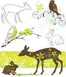 Deer,Bird,Animal,Silhouette,Rabbit - Animal,Springtime,Vector,Drawing - Art Product,Ilustration,Grunge,Design Element,Paint,Branch,Floral Pattern,Green Color,Backgrounds,Animals In The Wild,Design,Abstract,Passerine,Swirl,Wildlife,Twig,Ornate,Nature,Halftone Pattern,hand drawn,Freshness,Spotted,White Background,Curve,Halftone Pattern,Set