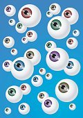 Eyeball,Human Eye,Eyesight,Peeking,Group of Objects,Blue,Animal Eye,Spotted,Purple,Single Object,Looking,Red,Crowded,Brown,Green Color,Body,Color Image,Bunch,Backdrop,Vector,Ilustration