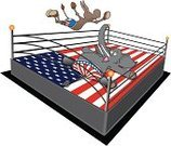 Wrestling,Politics,Cartoon,Republican Party,Humor,Mascot,Wrestling Mat,Rope,Swan Dive,Anxiety,Competition,Terrified,Struggle,Fear,Competitive Sport,Exhibition,Anticipation,Democratic Party,Animal Trunk,Corner,Drop,Shorts,Ilustration,Pole,elephant trunk,Corner,maneuver,Party - Social Event,Flag,Contest,Shot Glass,Performance,Wooden Post,Vector,American Flag