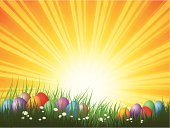 Easter,Eggs,Easter Egg,Backgrounds,Sun,Grass,Springtime,Nature,Landscape,Abstract,Daisy,Flower,Ilustration,Sky,Holiday,Vector Backgrounds,Easter,Illustrations And Vector Art,Vector,Holidays And Celebrations