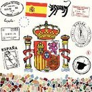 Spain,Rubber Stamp,Postage Stamp,Madrid,Barcelona,Passport,Flamenco Dancing,Map,Bull - Animal,Mosaic,Flag,Coat Of Arms,Pattern,Tile,Vector,Ilustration,Europe,European Union Flag,European Union